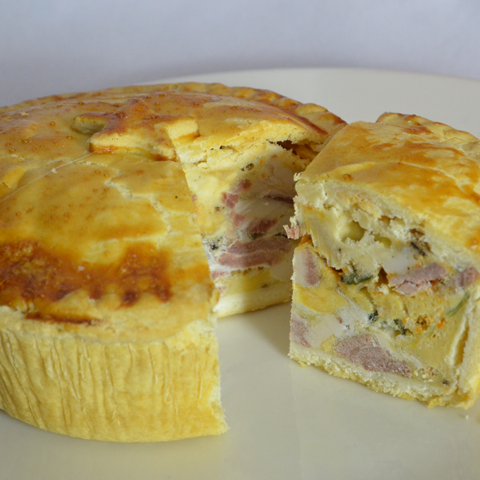 Egg, Bacon and Chorizo Award winning Cold Eating Pie - Gluten Free Pie